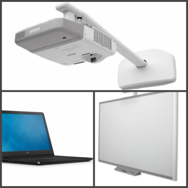 проектор дошка і ноутбук для школи